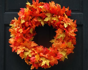 Large Fall Leaf Wreath, Fall Wreath, Front Door Wreath, Fall Leaves Wreath with Pumpkins, Fall Door Decor, Porch Decor, 22-24 Inch Wreath