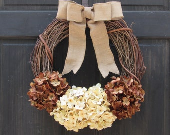 Fall Wreath, Brown Hydrangea Wreath, Rustic Grapevine Wreath, Fall Front Door Wreath, Fall Porch Decor, Fall Hydrangea Wreath, Door Decor