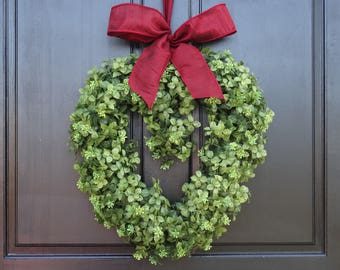 Small Valentines Day Wreath for Front Door, Wreath for Valentines Day, Heart Wreath, Door Hanger, Artificial Boxwood Wreath; 16 Inch Wreath