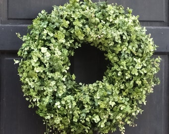 Faux Boxwood Wreath, Eucalyptus Wreath, Front Door Wreath, Fall Wreath, Year Round Wreath, Greenery Wreath, Everyday Wreath, Summer Wreath