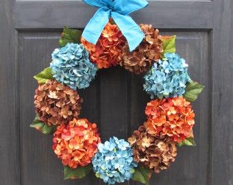 Front Door Wreath, Late Summer Wreath, Fall Hydrangea Wreath, Turquoise Blue Orange Rust Brown Hydrangea Wreath, Summer Fall Wreath for Door