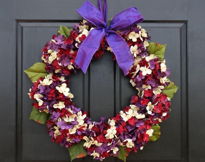Featured listing image: Fall Wreath, Late Summer Wreath, Hydrangea Wreath, Front Door Wreath, Fall Hydrangea Wreath, Summer Porch Decor, Fall Door Decor, Wreath