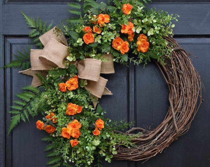 Featured listing image: Orange Mini Rose Wreath, Grapevine Wreath, Spring Wreath, Front Door Wreath, Summer Wreath, Greenery Wreath, Farmhouse Wreath for Front Door