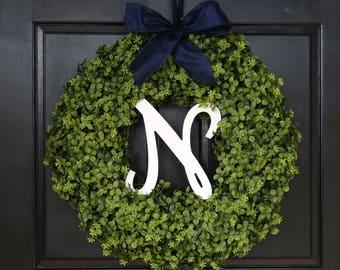 Large Winter Wreath, Faux Boxwood Wreath with Monogram, Front Door Wreath, Initial Wreath, Greenery Wreath, Front Door Decor, 22 Inch Wreath