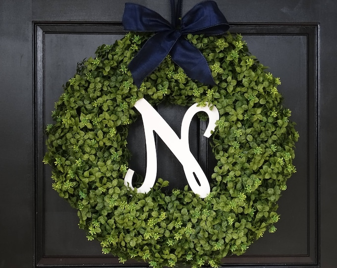 Featured listing image: Large Winter Wreath, Faux Boxwood Wreath with Monogram, Front Door Wreath, Initial Wreath, Greenery Wreath, Front Door Decor, 22 Inch Wreath