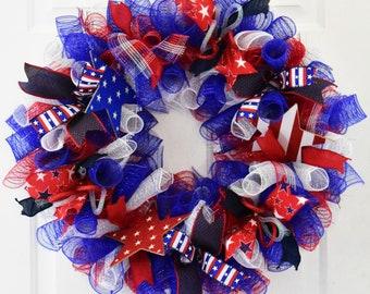 Patriotic Wreath, Stars and Stripes Wreath, Summer Wreath, Americana Wreath, Deco Mesh Wreath, Patriotic Decor, Summer Door Decor