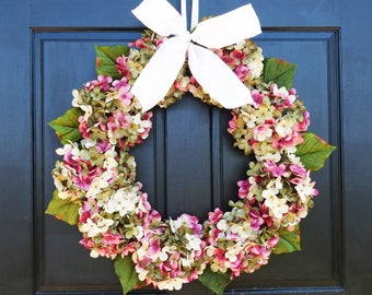 Spring Wreath, Summer Wreath, Front Door Wreath, Spring Hydrangea Wreath, Pink Cream Green Wreath for Front Door Decor, Spring Porch Decor