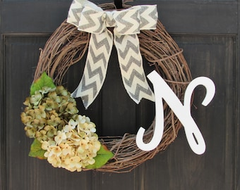 Monogram Wreath, Initial Wreath, Front Door Wreath, Grapevine Wreath, Year Round Wreath, Fall Wreath with Initial, Personalized Wreath