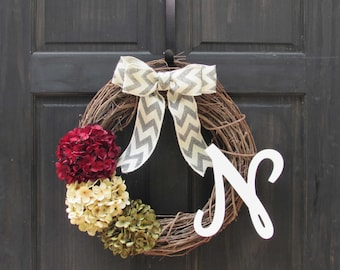 Christmas Wreath, Holiday Wreath with Monogram, Initial Wreath, Front Door Wreath with Initial, Monogram Wreath, Personalized Wreath