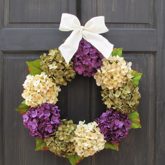 Fall Wreath For Front Door Wreath For Spring Hydrangea Etsy