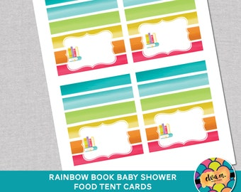 Rainbow Book Baby Shower Place Cards or Food Tent Cards. Book Baby Shower. *INSTANT DOWNLOAD*