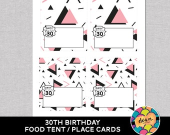 30th Birthday Food Tent Cards. 30th Birthday Place Cards. Dirty or Flirty 30th Birthday Party Decor. *INSTANT DOWNLOAD*