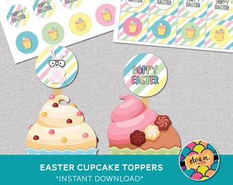 Easter Bunny Cupcake Toppers. Easter Cupcake Toppers and party circles. *INSTANT DOWNLOAD*