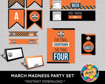 March Madness Party Decoration Set. Basketball March Madness Party Set. Final Four Party Set.  *DIGITAL DOWNLOAD*