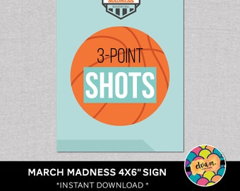 "March Madness 4x6"" Party Sign. ""3-point shots"". Basketball Party Straw Flags.  *DIGITAL DOWNLOAD*"
