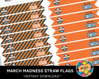March Madness Straw Flags. Basketball Party Straw Flags.  *DIGITAL DOWNLOAD*