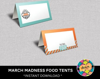 March Madness Food Tent Cards. Basketball Food Tent Cards. Final Four Place Cards.  *DIGITAL DOWNLOAD*