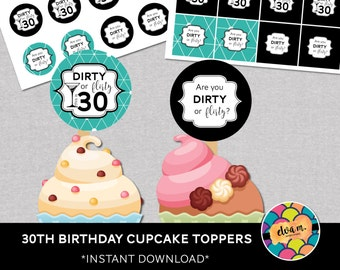 30th Birthday Cupcake Toppers and Mini Cake Bunting. 30th Birthday - Dirty or Flirty 30th Birthday Party Decor. *INSTANT DOWNLOAD*
