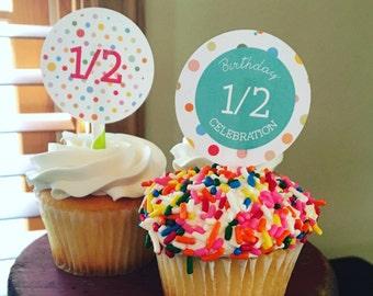 Half Birthday Cupcake Toppers and Cake Bunting. Half Birthday Party. Printable / DIY.  *DIGITAL DOWNLOAD*