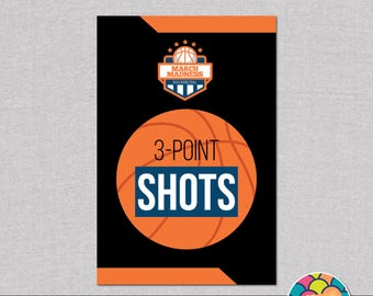 """March Madness 4x6"""" Party Sign. """"3-point shots"""". Basketball Party Straw Flags.  *DIGITAL DOWNLOAD*"""