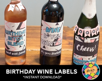Pink and Black Abstract Birthday Wine Labels. Wine Bottle Labels for Birthday. *INSTANT DOWNLOAD*
