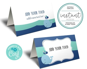 Editable Whale Food Tent Cards or Place Card. Whale Birthday. Editable Template in Corjl.