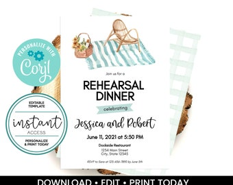 Picnic Party Invitation. Picnic Party Rehearsal Dinner Invite. Personalize and Print in Corjl. Instant Download.