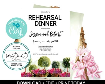 Garden Party Invitation. Garden Party Rehearsal Dinner Invite. Personalize and Print in Corjl. Instant Download.