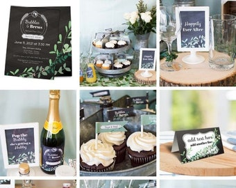 Bubbles and Brews Before the I Dos Couples Shower Printable Set. Editable Templates in Corjl.