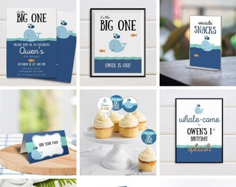 Editable Whale Birthday Printable Set. Whale Birthday Party Printables. Editable Templates in Corjl.