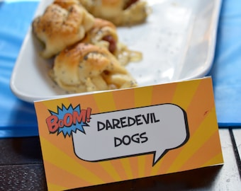 8 Superhero Party Food Tent Cards. Superhero Place Cards or Food Labels. Superhero Birthday Party Supplies. *INSTANT DOWNLOAD*