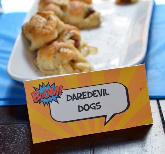 8 Superhero Party Food Tent Cards Place Or