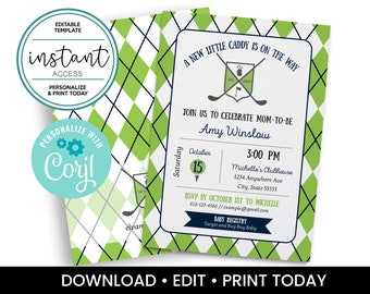 Editable Golf Themed Baby Shower Invite. Argyle Golf Theme Baby Shower. Personalize and Print in Corjl. Instant Download.