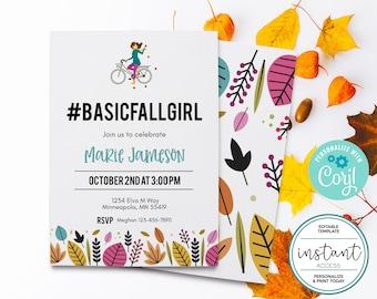 Basic Fall Girl Party Invite. Fall Ladies Night. Editable in Corjl.