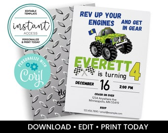 Monster Truck Party Invitation. Monster Truck Birthday. Personalize and Print in Corjl. Instant Download.
