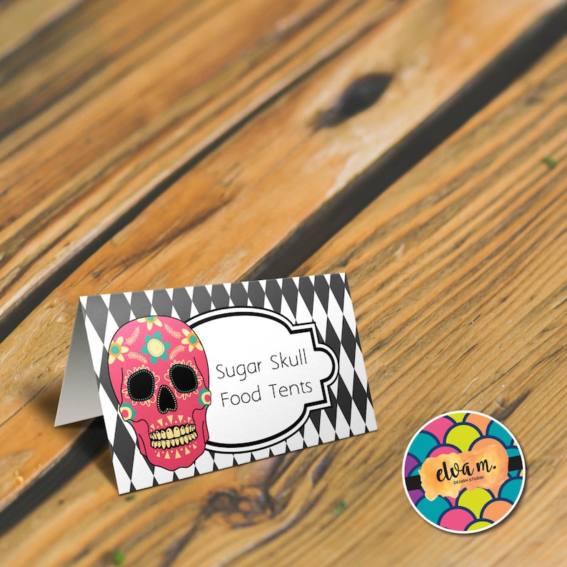 Sugar Skulls Place Cards *INSTANT DOWNLOAD* Halloween Party Decor Sugar Skulls Food Tent Cards Dia de los Muertos