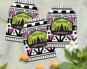 Glamping Party Favor Tag - Girls Gone Glamping Favor Tag - *INSTANT DOWNLOAD*