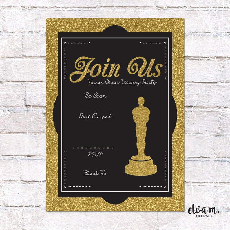 Oscar Party Invitation Instant Download You Edit Academy Etsy