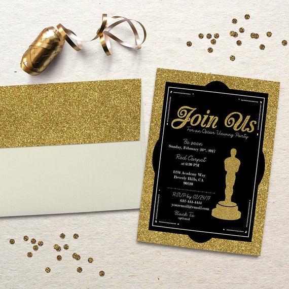 oscar party invitation academy awards oscar viewing party invite