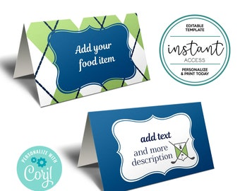 Golf Tent Cards. Golf Food Tent Card. Golf Place Card. Editable Template in Corjl.
