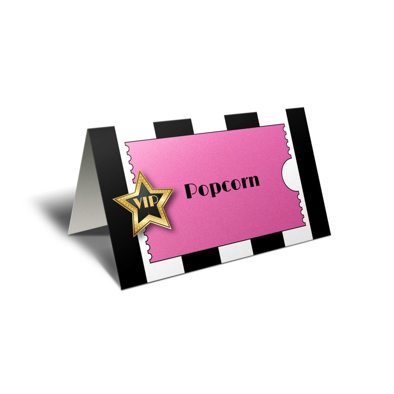 *INSTANT DOWNLOAD* Pink Sparkle VIP Party Hollywood Place Cards or Food Labels Pink Oscar Party Food Tent Cards