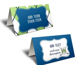 Golf Baby Shower Food Tent Cards or Place Card. Editable Template in Corjl.