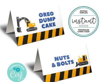 Construction Food Tent Cards. Construction Place Cards. Personalize and Print in Corjl.