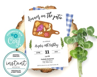 Charcuterie Picnic Dinner Invite. Editable. Personalize and Print in Corjl. Instant Download.