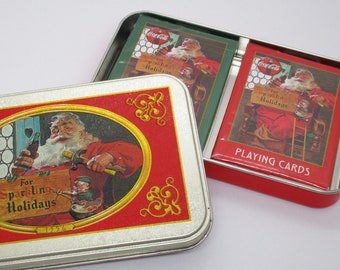 Coca-Cola Christmas Playing Cards with 1956 Haddon Sundblom Santa Claus Art – Sparkling Holidays Nostalgia Playing Cards In Box - 1998 Coke