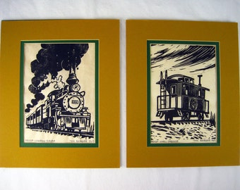 Two Original Railroad Themed Wood Block Print PROOFS By Tom Berger – 1969 – Lino Print Style – Narrow Gauge & Small Caboose