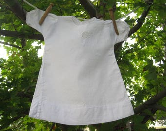 Vintage White Embroidery and Lace Baby Dress or Doll Dress