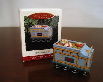 "Hallmark Keepsake ""Yuletide Central Tender Car"" Pressed Tin 1995 Vintage Christmas Ornament with Box"