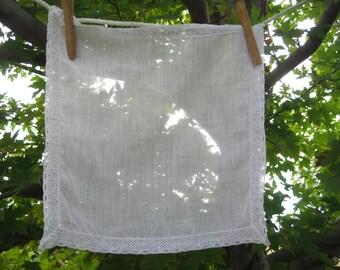 Vintage White Cotton Handkerchief – Wide Trim