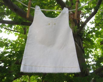 Vintage White Baby or Doll Dress Slip Gown – Yellow Needlework